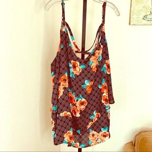 Torrid black orange aqua floral layered tank sz 5x